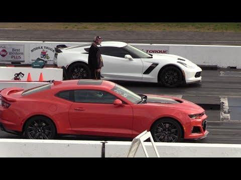 Stock z06 vs Stock ZL1 - 1/4 mile drag race - Corvette C7 z06 vs Camaro ZL1