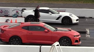 Stock z06 vs Stock ZL1 - 1/4 mile drag race - Corvette C7 z06 vs Camaro ZL1