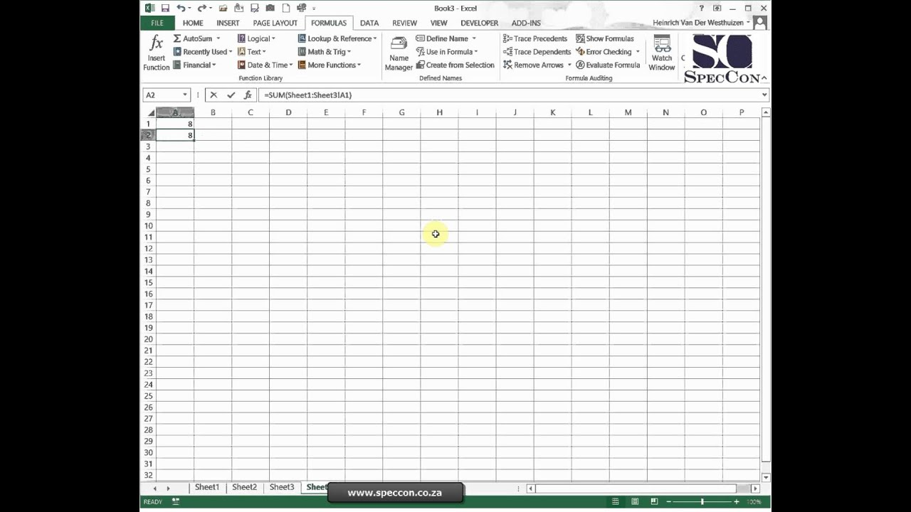 Calculate Data Across Worksheets