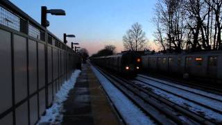 NYC Subway: (B) and (Q) trains at Av U BMT Brighton Line(P.M rush)
