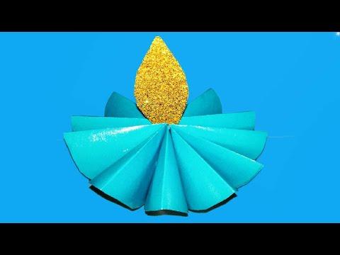 Making Paper Diya ! Flower Diya Diwali Decoration Ideas At Home