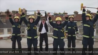 Firemen create a fire safety video which will have you stepping in time