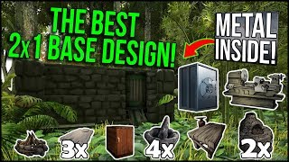 THE BEST 2x1 BASE IN ARK! - PvP Base Design [Metal Inside, Vault, Hidden Storage, Fabricator & more]