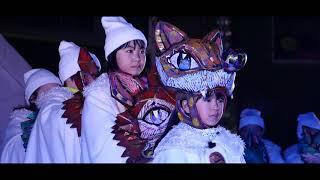 冬の野外巨大人形劇「雪わたり」