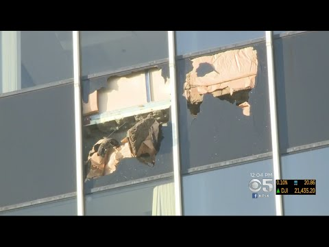 Office Building Damaged By Oakland Fire Evacuated Due To Falling Window Glass