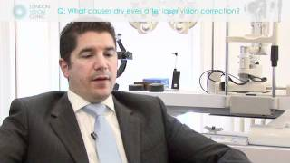 What causes dry eyes after laser vision correction?