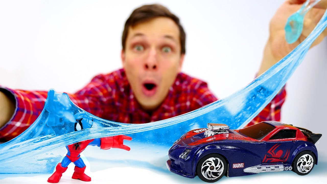 Игры с машинками - Человек Паук и слайм с Кибертрона! - Видео с игрушками для детей в Автомастерской
