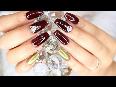 Uñas acrilicas Nude con decoracion / Nude acrylic nails