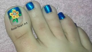 Blue Floral French Pedicure Nail Art Tutorial- Toe Nail Art | Rose Pearl