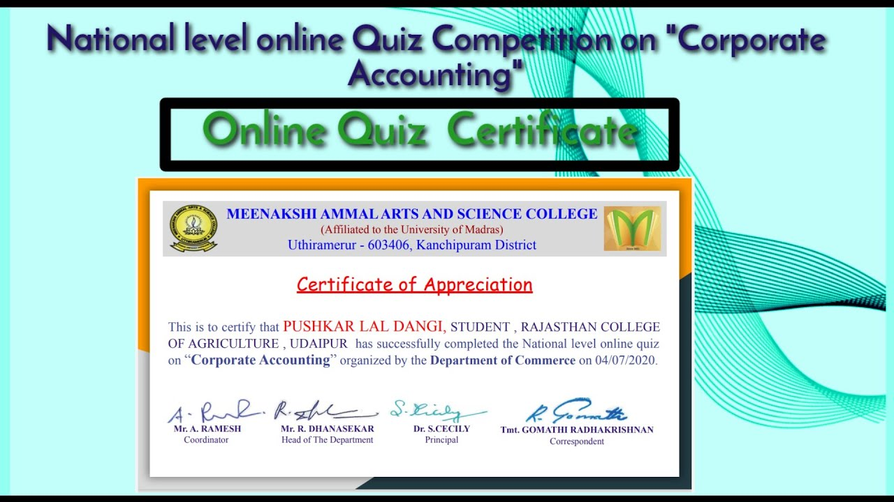 """National level online Quiz Competition on """"Corporate Accounting""""Certificate  #OnlineQuizCertificate"""