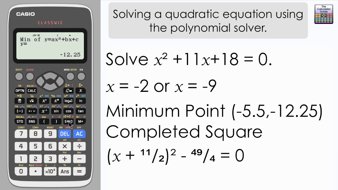 Solve A Quadratic Equation Using The Classwiz Polynomial Solver- Casio  fx-991EX fx-570EX Calculator