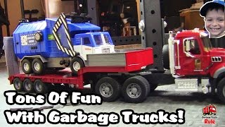 Garbage Truck Videos For Children l Tons Of Fun!  Let's Play GARBAGE TRUCKS l Garbage Trucks Rule