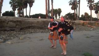 AMAZING 100 YEAR OLD PEGGY! Scottish Bagpipe Memorial~Part 3~Ventura California Surfers Point