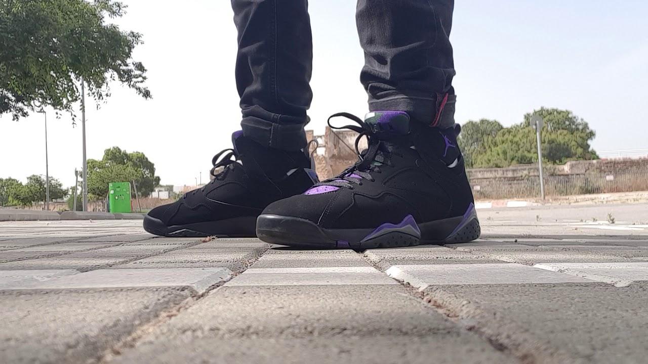 sports shoes 6cdf1 9bc2a 2019 Nike Air Jordan 7 Retro Ray Allen Black/Field Purple-Fir on feet