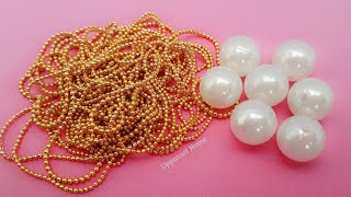 How To Make Designer Earrings At Home | DIY | Pearl Drop Earrings | Jewelry Making | uppunutihome
