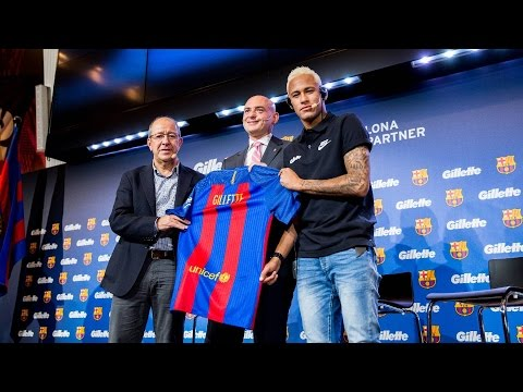 Presentation of the sponsorship agreement between FC Barcelona and Gillette