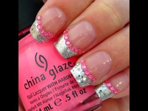- Silver/Pink Glitter French Tip Nail Design - YouTube