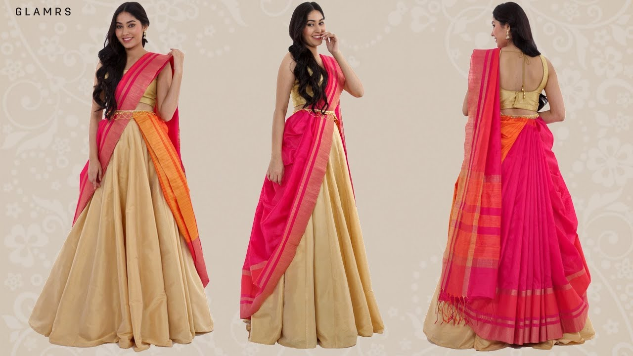 How To Drape Your Saree With A Lehenga Silk Saree Hack Youtube