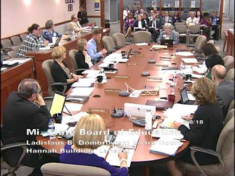 Michigan State Board of Education Meeting for May 8, 2018 - Afternoon Session