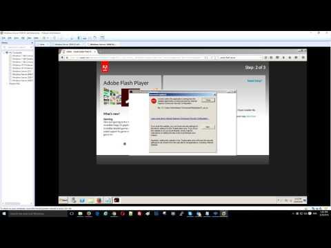 can't install adobe flash on windows server