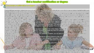 How to : Get a teacher certification or degree