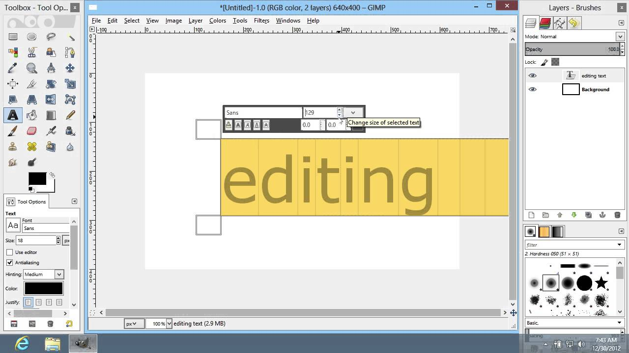 how to edit text in gimp youtube