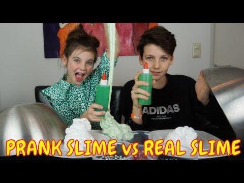 PRANK SLIME vs REAL SLIME CHALLENGE DEEL 2 - Bibi, Tobias