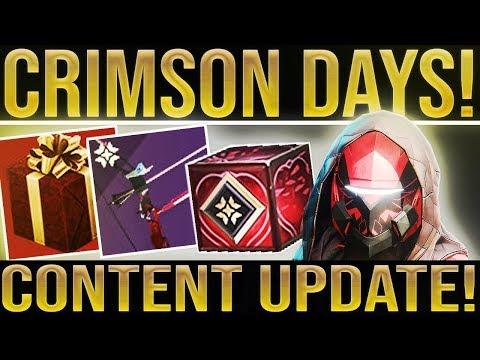Destiny 2 News. CRIMSON DAYS LOOT! Crimson Weapon, Exotics, Activities, Triumphs, Enhancement Cores thumbnail