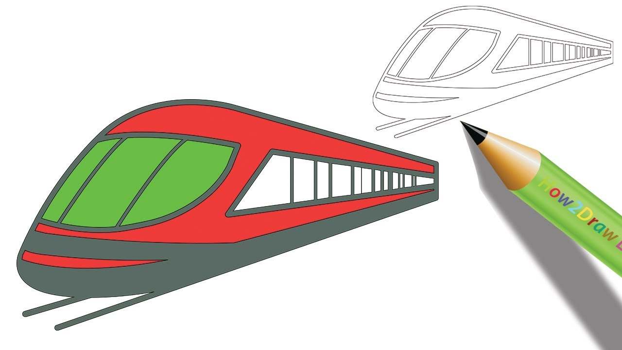 How to Draw a Bullet Train Step by Step  Easy Drawing - Coloring page