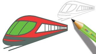How to Draw a Bullet Train Step by Step | Easy Drawing - Coloring page