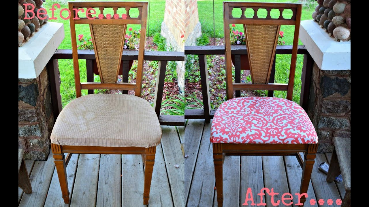 Diy reupholster dining chair - The Mommy Diaries Diy Reupholster Dining Room Chairs With Me Youtube