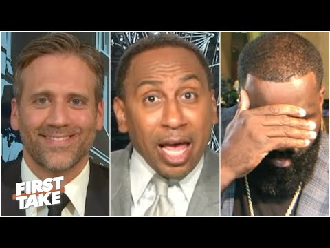 Stephen A. urges Kendrick Perkins to cool down during a heated James Harden debate | First Take