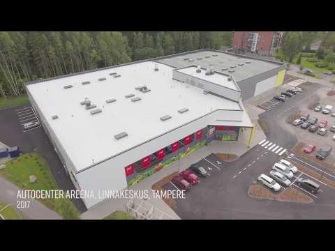 Teräshalli, teräsrunko ja julkisivurakenteet – AutoCenter Areena, Linnakeskus, Tampere thumbnail