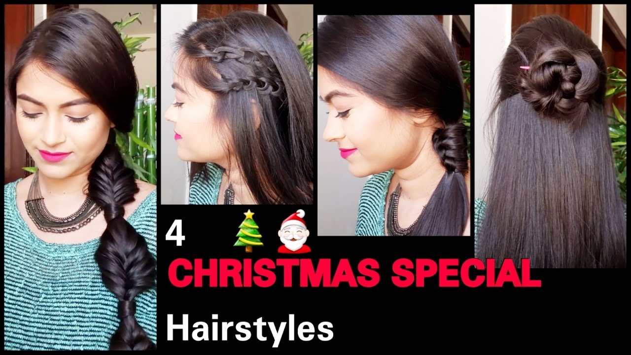 4 party hairstyles for medium/long hair//easy heatless hairstyles for indian hair for college/work
