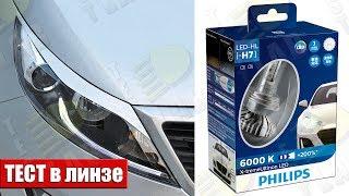 Как светят светодиодные лампы Philips H7 X-treme Ultinon LED 12985BWX2. Тест в линзе.