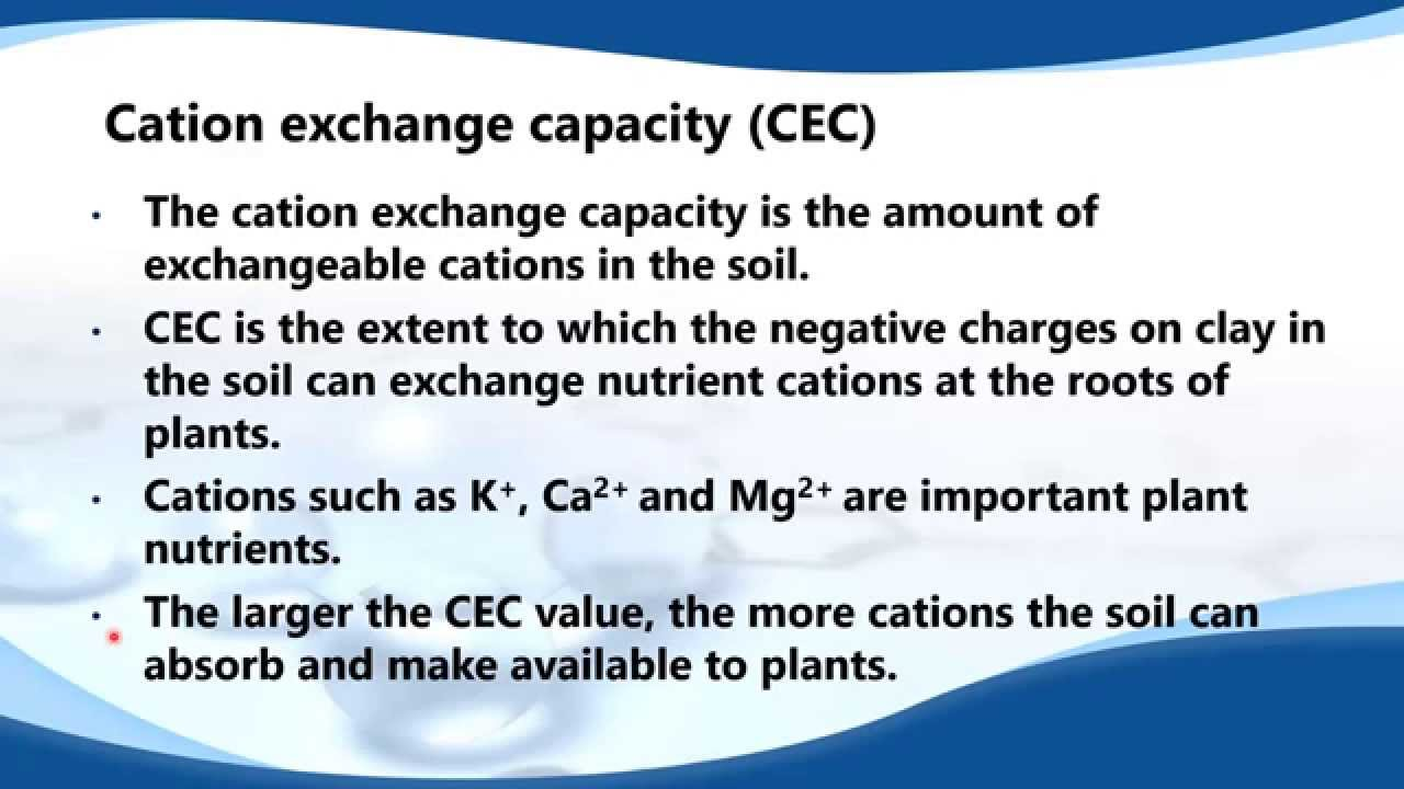 State what is meant by the term cation exchange for What is meant by soil