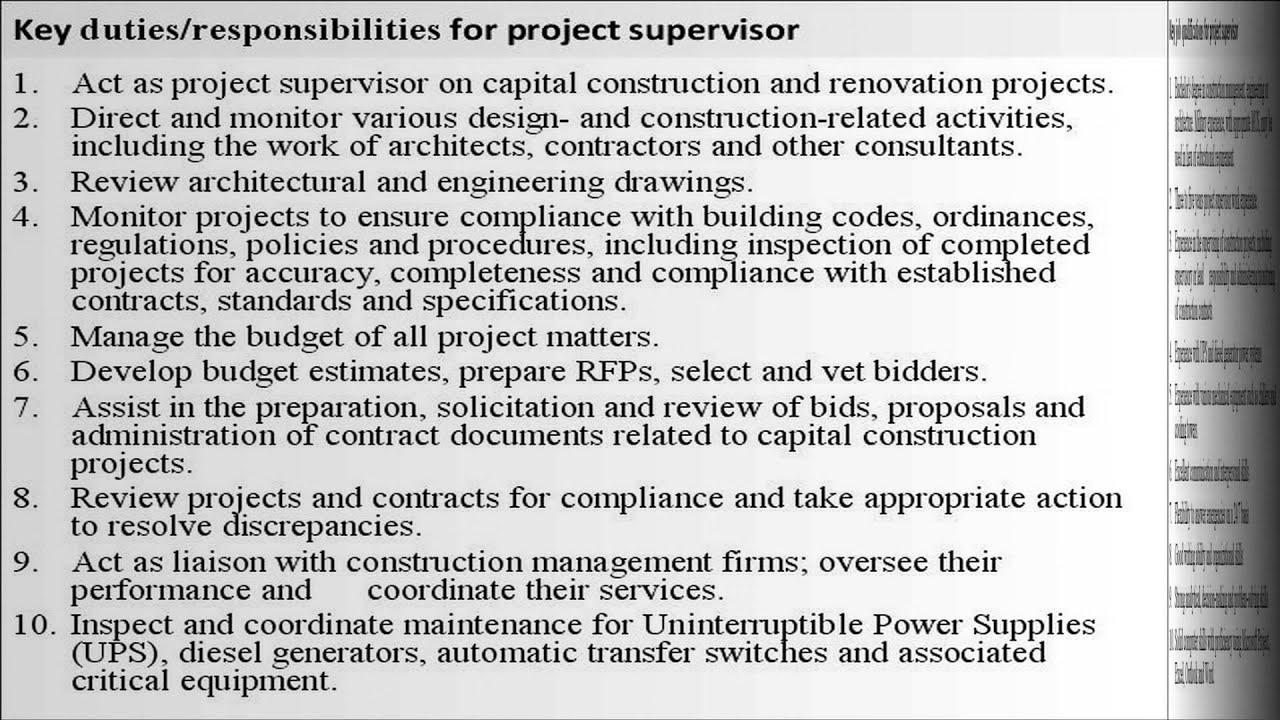 Supervisor Job Description | Project Supervisor Job Description Youtube