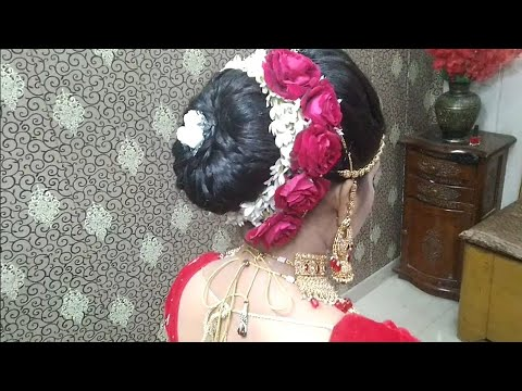 Latest gajra hairstyle for Bridal   Hair bun with Real flower   Juda with gajra - YouTube