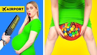 SNEAK SNACKS INTO A PLANE, FASHION SHOW AND SCHOOL || Funny Situations & Crazy DIY by 123 GO! FOOD