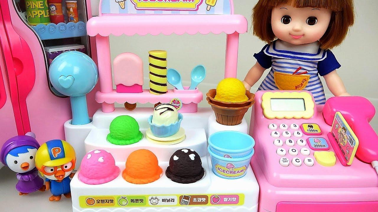 Jos And Toys : Baby doll and pororo ice cream shop kinder joy toys