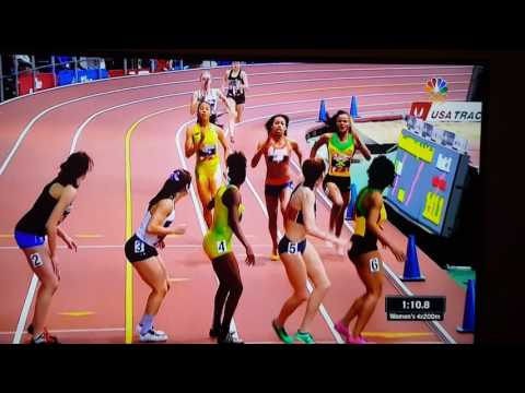 Jamaica women's winning the 4x200 meters @ the new York armory invitational meet.