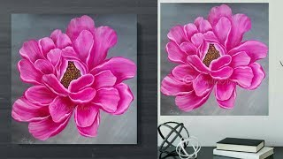 STEP by STEP Acrylic PAINTING Techniques - Painting Lessons PEONY - Large Canvas Art - Day #33