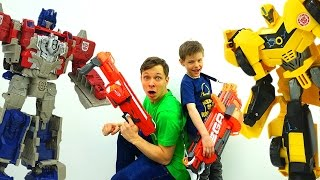 Игры стреляки. Десептиконы атакуют! Защита Базы #Автоботы Игрушки #длямальчиков #Нерф и Трансформеры