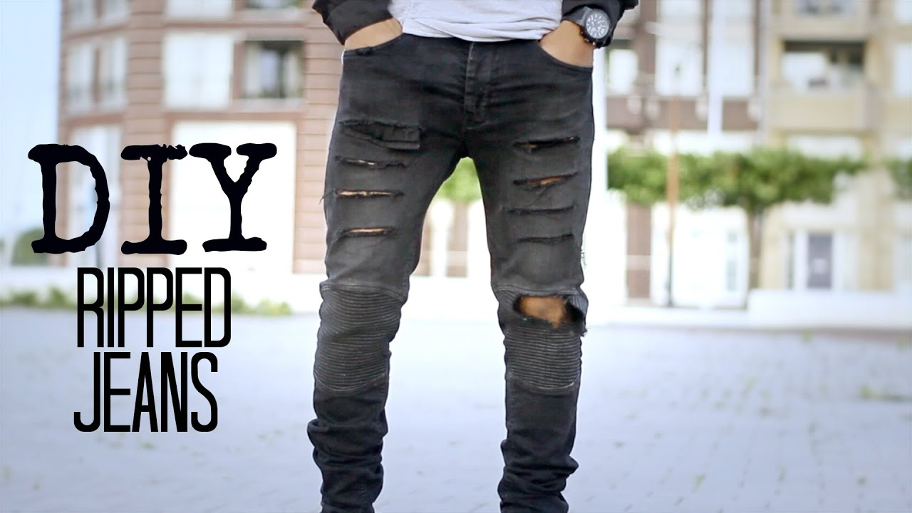 DIY // RIPPED JEANS! - YouTube