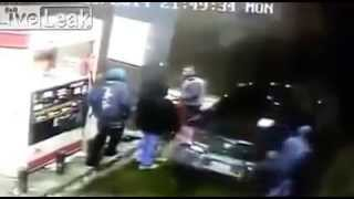 Off Duty Cop Kills Armed Robber at Gas Station (Raw Security Footage)