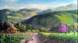 Pintura de Paisagem com Serras e Sítios