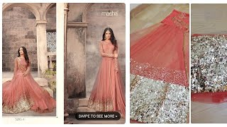 Amazon gown unboxing|peach sequin gown|gown under rs2000|online shopping review|meesha clothing revi