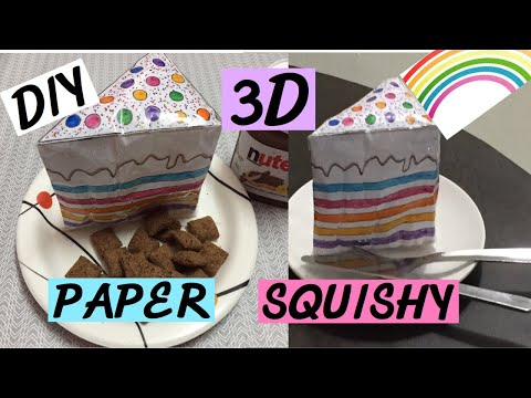 How to make 3D Rainbow Cake Paper Squishy |DIY 3D Paper Squishy