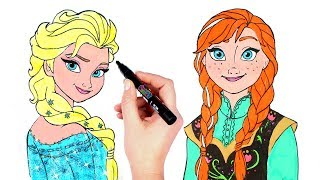 How to Draw Elsa and Anna from Disney Frozen | Glitter Paint Drawing & Coloring for Kids