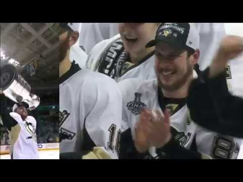Penguins players react to Phil Kessel hoisting the Stanley Cup